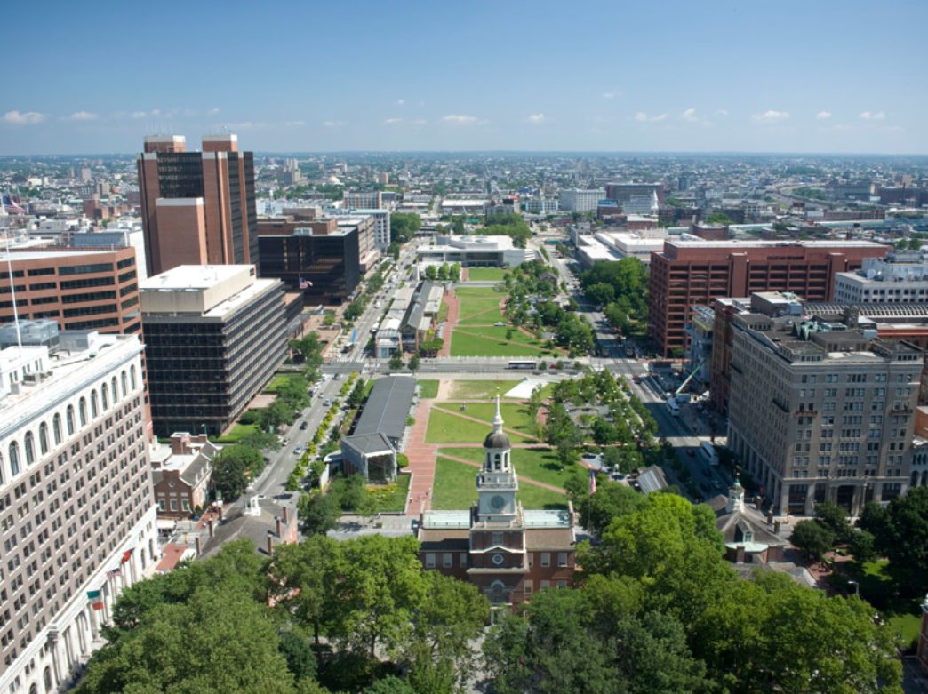 Aerial view of Independence Mall