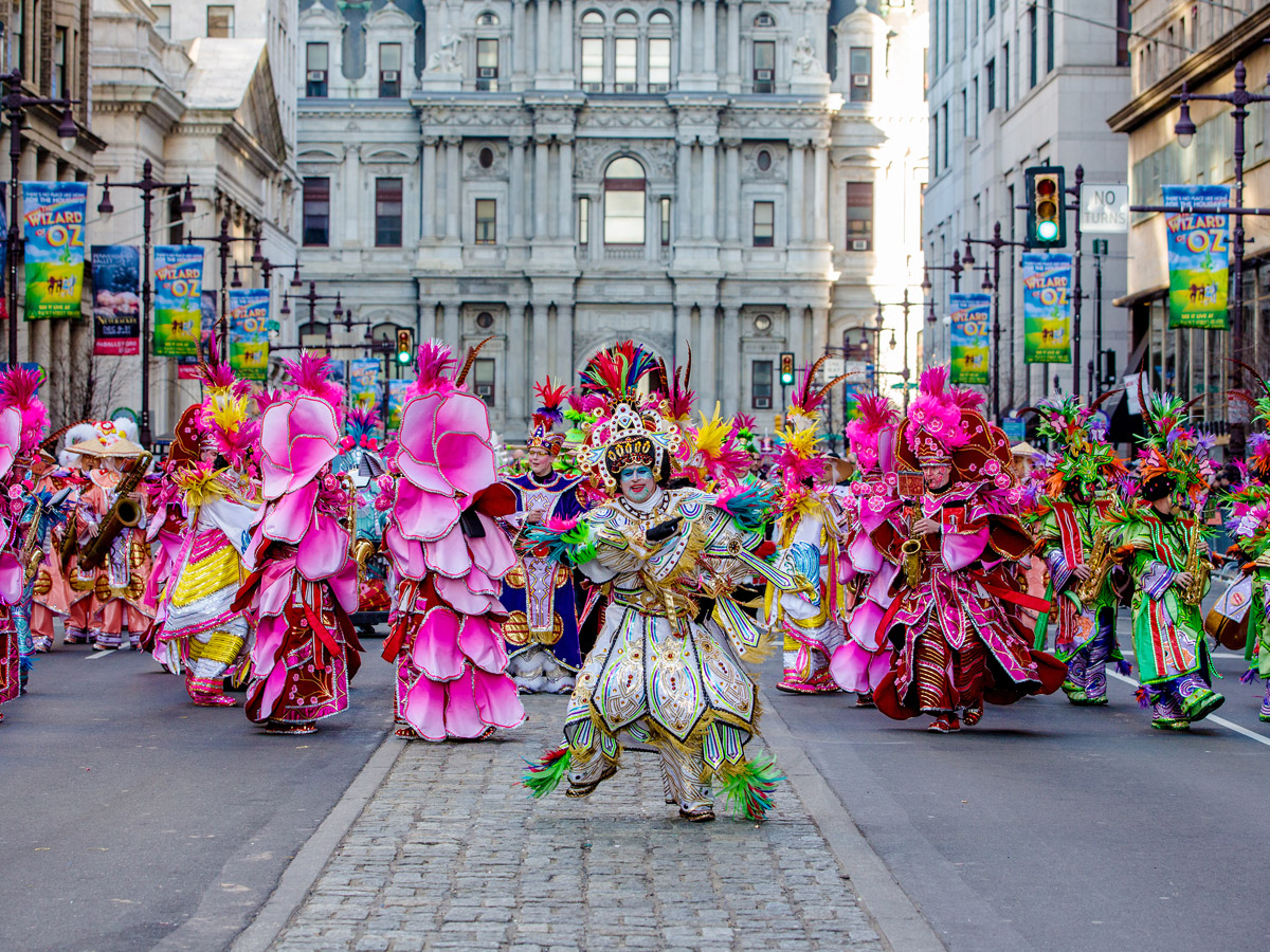 Costumed mummers marching in the Mummers Parade