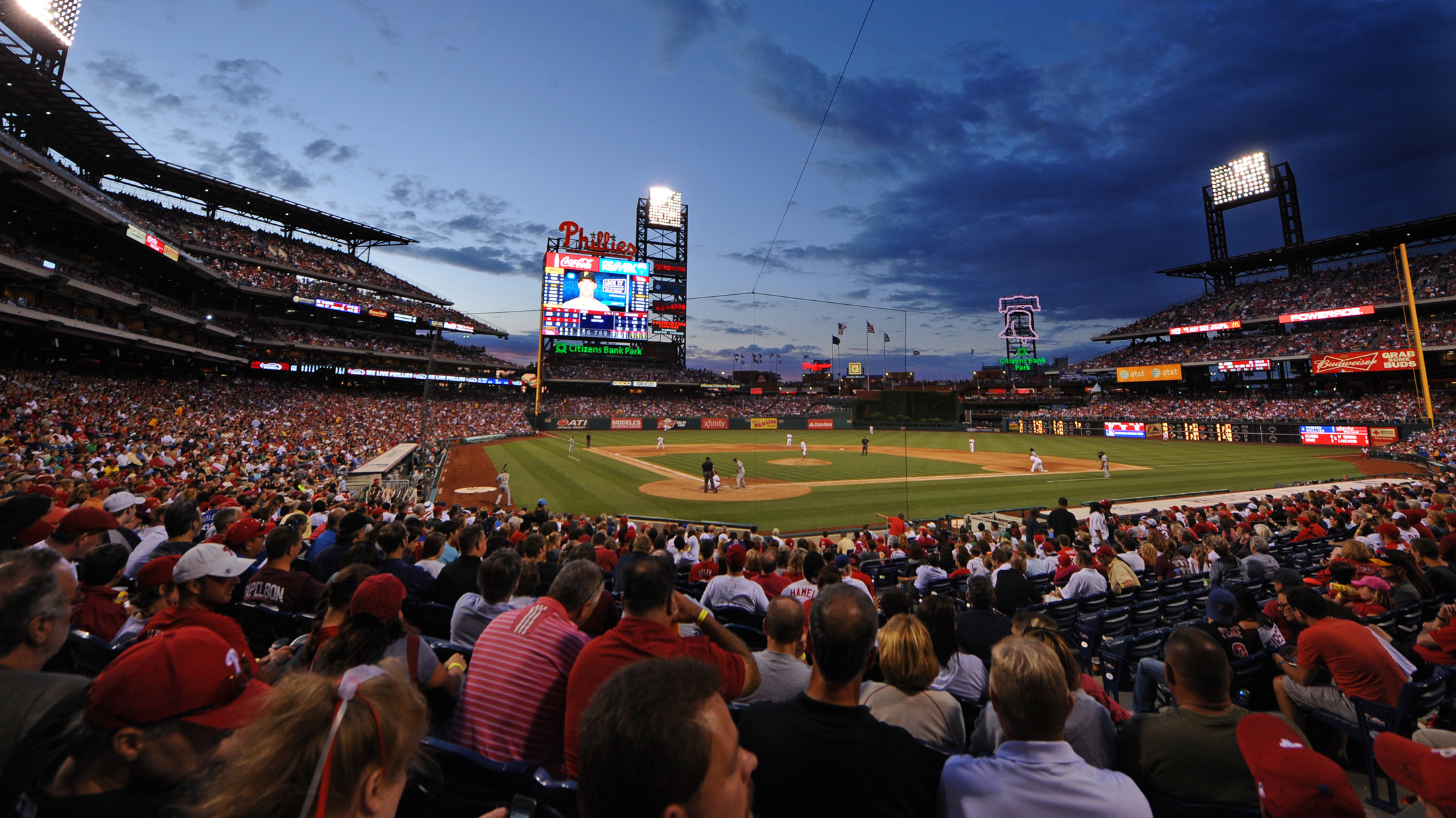 A Phillies game at Citizens Bank Park at dusk