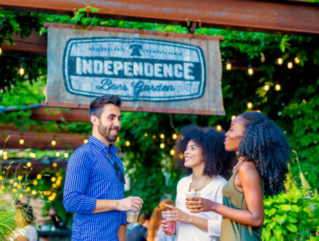 People Hanging Out And Drinking At Independence Beer Garden In Philadelphia